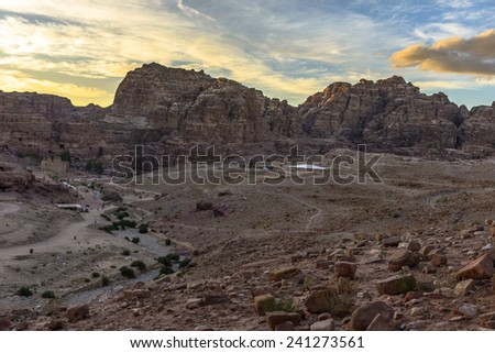 Mountains view in Petra in Jordan at sunset - stock photo