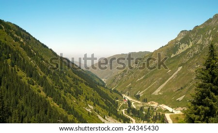 Mountains View near Big Almaty Lake - stock photo