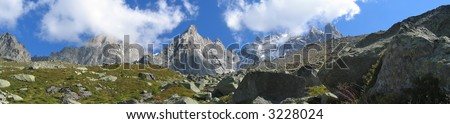 Mountains with ice fields - France - The Alps - Panorama. - stock photo