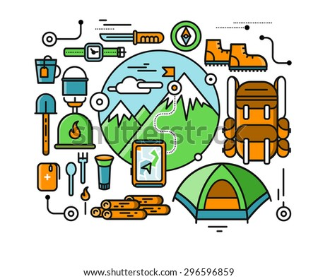 Mountains with snow peaks and tourist equipment. Hiking trip. Mountaineering. Travel. Stroke icons for web design, analytics, graphic design and in flat design. Raster version - stock photo
