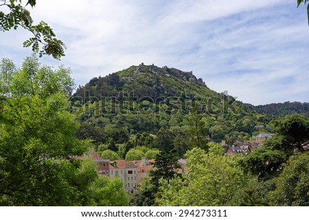Mountaintop ruins of the Castle of the Moors at Sintra, Portugal - stock photo