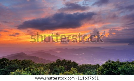 Mountaintop view of rolling hills in the Blue Ridge Mountains  in Georgia, USA. - stock photo