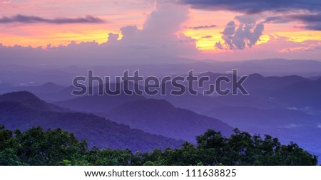 Mountaintop view of rolling hills in the Blue Ridge Mountains in north Georgia, USA. - stock photo