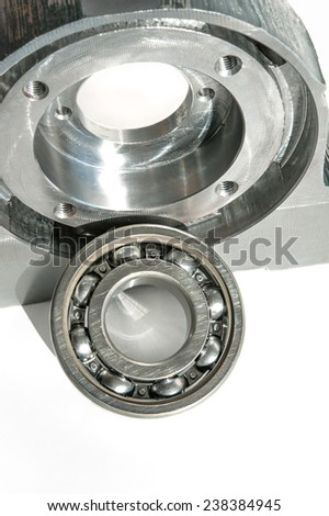 Mounted roller bearing unit die. Milling lathe and drilling industry. Metalworking, mechanical engineering and CNC technology. Indoors closeup. - stock photo