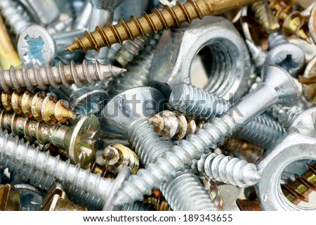 Mounting fasteners - screws,bolts,nuts. - stock photo