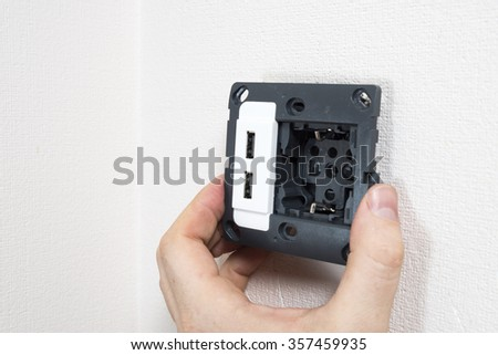 Mounting of the socket with two usb port.