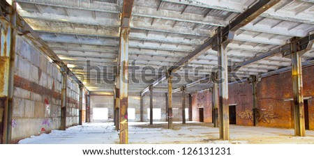 mounting workshop in an old factory - stock photo