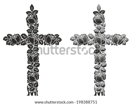 mourning decoration from roses in the shape of a cross