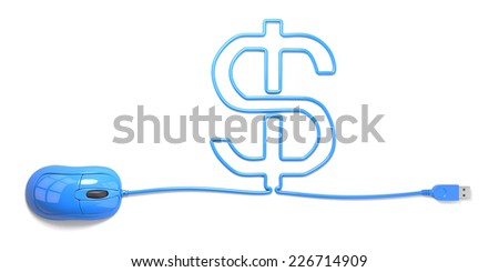 mouse and cables in form of dollar on a white background - stock photo