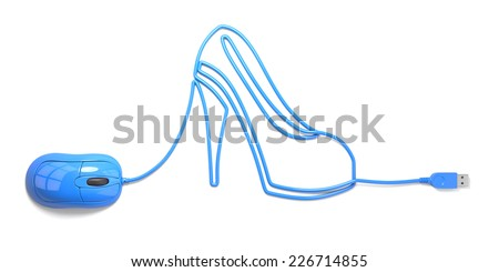 mouse and cables in form of shoe on a white background - stock photo
