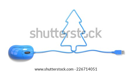 mouse and cables in form of tree on a white background - stock photo