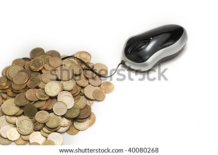 Mouse and coins. - stock photo