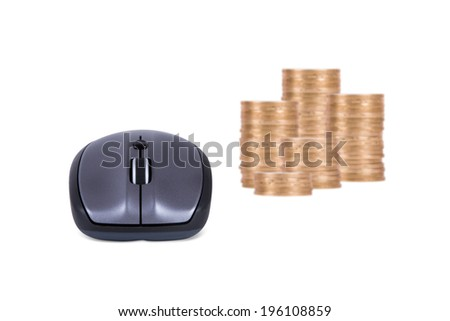 Mouse and coins, front view, isolated on white background. - stock photo