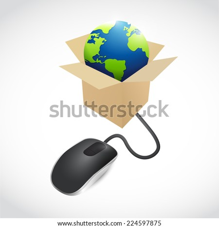 mouse and globe inside a box illustration design over a white background - stock photo