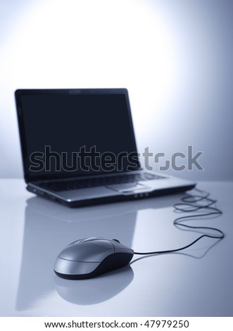 mouse and laptop - stock photo