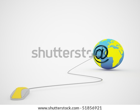 mouse at the rate and globe - stock photo