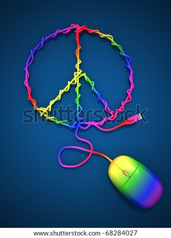 Mouse cable peace symbol