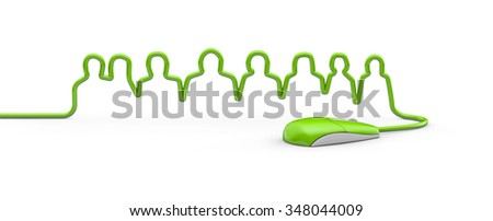 Mouse cable team / 3D render of computer mouse cable forming business team of people outline - stock photo