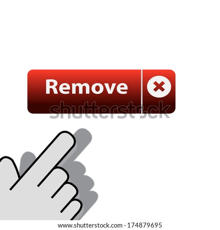 mouse click on the button remove  wants - stock photo