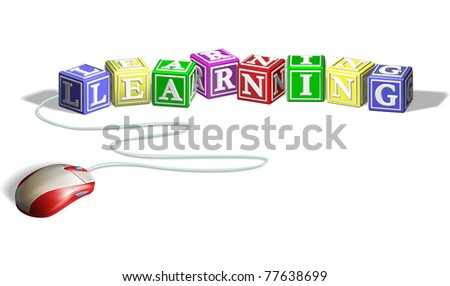 Mouse connected to alphabet letter blocks forming the word learning. Concept for e-learning. - stock photo