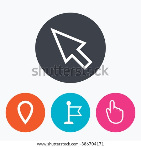 Mouse cursor icon. Hand or Flag pointer symbols. Map location marker sign. Circle flat buttons with icon. - stock photo