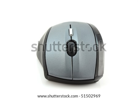 Mouse for computer over white - stock photo