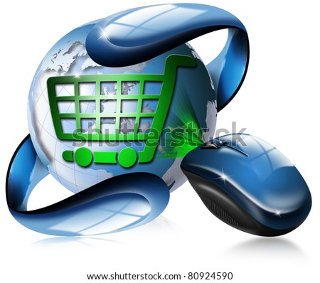 Mouse, globe and shopping cart symbol - stock photo