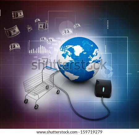 Mouse, globe and shopping cart symbol. Global purchase , abstract background
