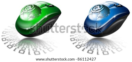 Mouse globe e-mail. Two illustrations with globe coming out of the mouse and sign e-ma - stock photo