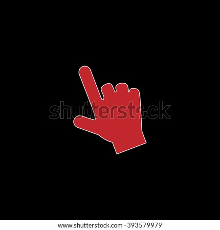 Mouse hand cursor. flat symbol pictogram on black background. red simple icon with white stroke - stock photo
