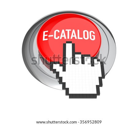 Mouse Hand Cursor on Red E-Catalog Button. 3D Illustration. - stock photo