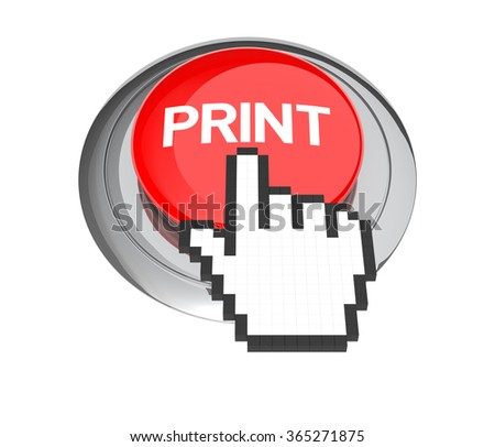 Mouse Hand Cursor on Red Print Button. 3D Illustration.