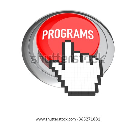 Mouse Hand Cursor on Red Programs Button. 3D Illustration.