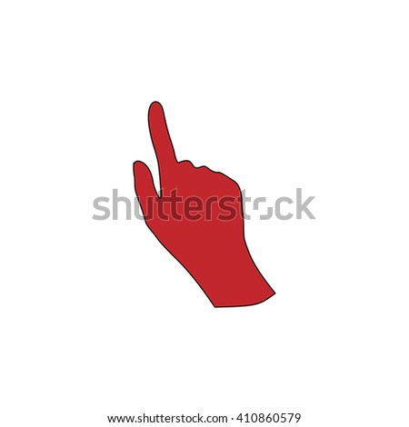 Mouse hand Simple red icon on white background. Flat pictogram - stock photo