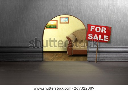 Mouse hole in wall with sign for sale. House sale concept - stock photo