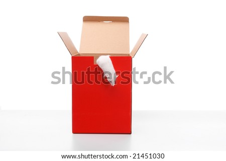 mouse outside the box,isolated on white background with reflection - stock photo
