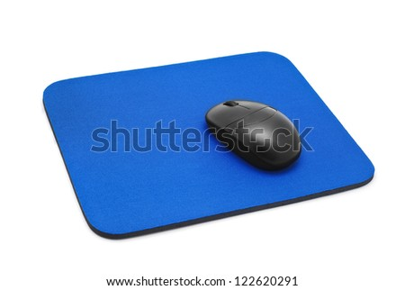 mouse pad isolated on white - stock photo