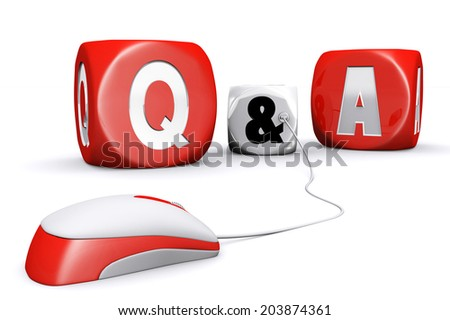 Mouse plug in white and red questions and answers dices with reflection on white background - stock photo