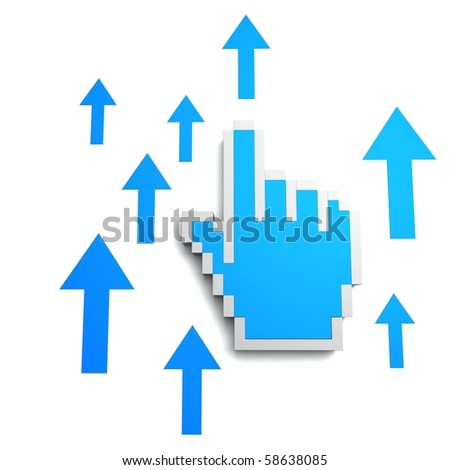 Mouse Pointer With Arrows - stock photo