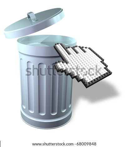Mouse pointer with 3D trash can - stock photo