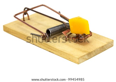 Mouse trap isolated on a white background. - stock photo