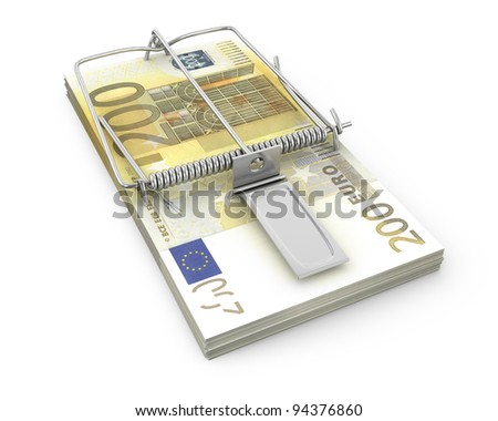 Mouse trap made of pack of euro , isolated on white background - stock photo