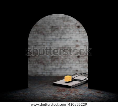 Mouse trap with a piece of cheese looking from hole extreme closeup. 3d Rendering - stock photo