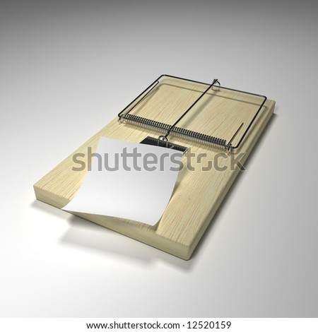 Mouse trap with a piece of paper to display your risky message