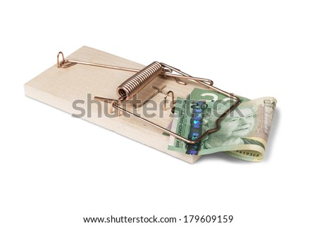 Mouse trap with Canadian dollars, isolated over white  - stock photo