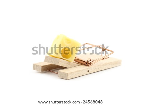 Mouse trap with cheese isolated