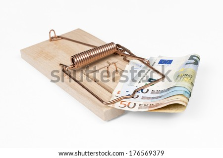 Mouse trap with Euro bills isolated over white with clipping path. - stock photo
