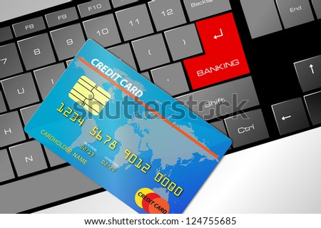 mouse with a credit card, concept of on line banking