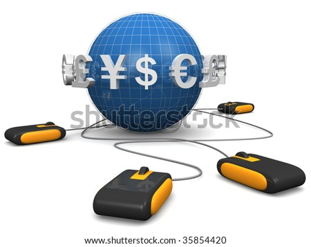 Mouse with international currency symbol surrounded a globe E-commerces concept 3d illustration - stock photo