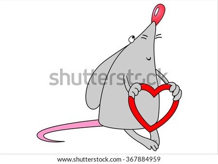Mouse with red heart